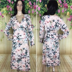 Willow & Clay Blush Floral Wrap Dress
